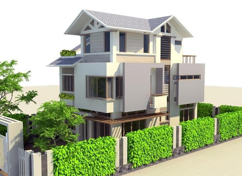 thiết kế nhà 8x14mcanh biet thu 3 tang 8x14m - Thiết kế nhà 3 tầng đẹp