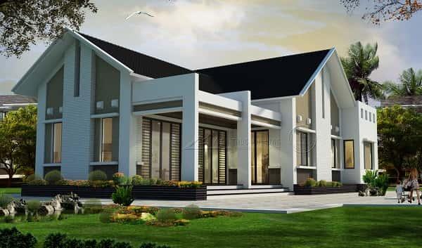 thiet ke biet thu vuon 1 tang dep mau thiet ke biet thu hd BT1145 - Tổng hợp các mẫu biệt thự 1 tầng đẹp nhất Việt Nam