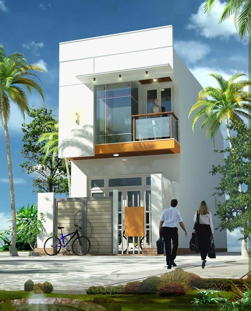 thiet ke nha 2 tang 600 trieu phoi canh nha pho 2 tang 3x18m - Tư vấn thiết kế nhà 2 tầng 5x20m