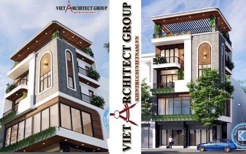thiet ke nha hai duong goc pho 2 mat tien 800x500 - Thiết kế nhà phố đẹp