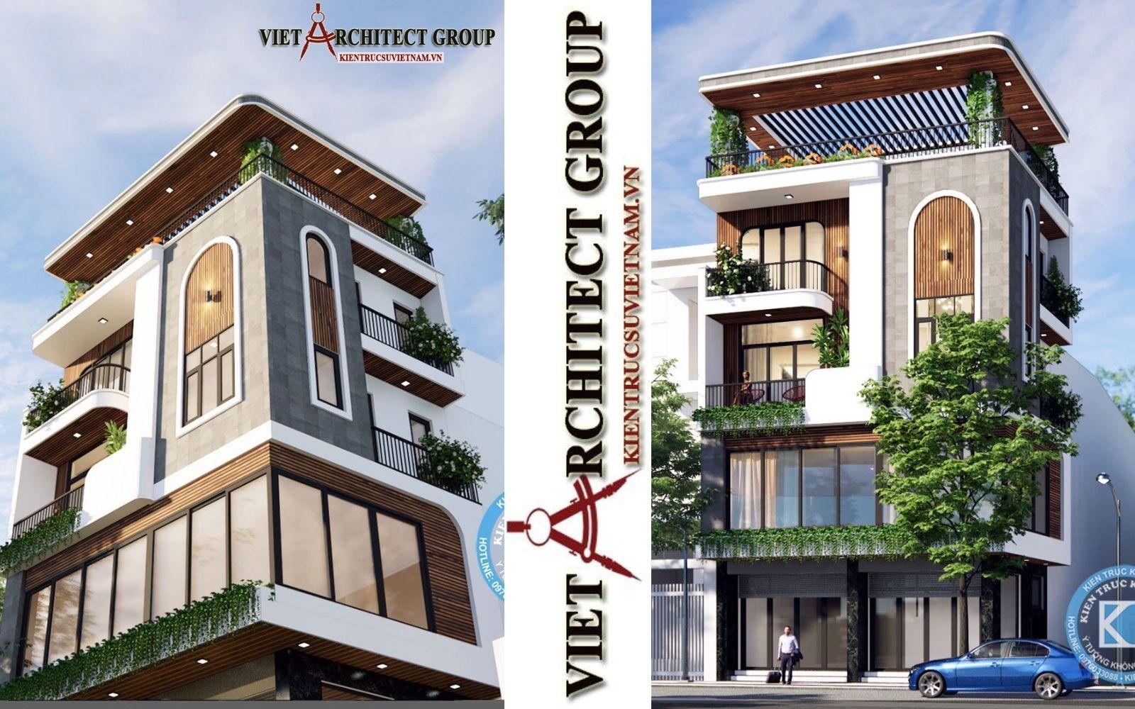 thiet ke nha hai duong goc pho 2 mat tien - Thiết kế nhà phố đẹp