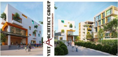 thiet ke truong ma non viet architect group 400x193 - Dự án thiết kế tổ hợp trường mầm non - trung tâm ngoại ngữ An Bình