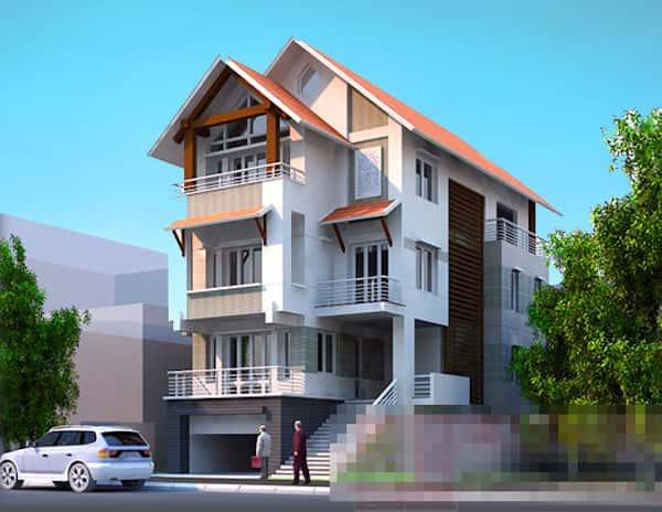 biet thu cong tang ham 3 - Các dự án thiết kế biệt thự mái thái đẹp đã thực hiện