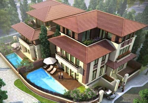 biet thu cong tang ham 9 - Thiết kế biệt thự 3 tầng đẹp