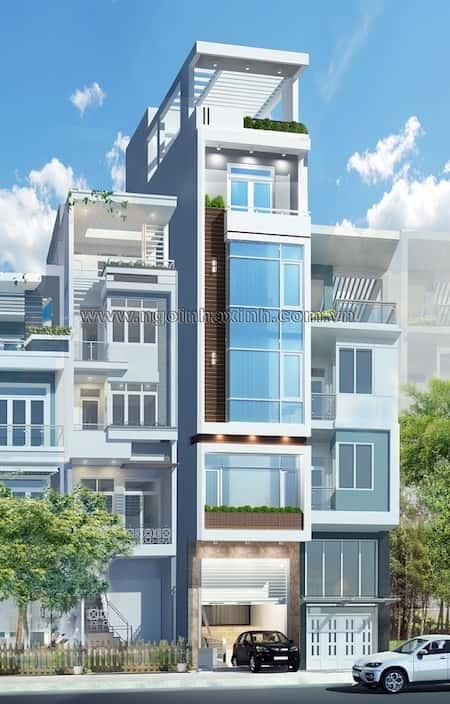 mau nha 6 tang - Thiết kế nhà 6 tầng đẹp