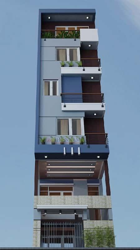 nha dep 6 tang - Thiết kế nhà 6 tầng đẹp