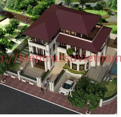thiet ke nha biet thu co tang ham dep 001c - Mẫu thiết kế nhà 5 tỷ đẹp