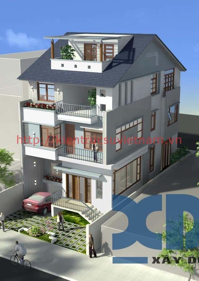 thiet ke nha biet thu co tang ham dep 001dsk - Các dự án thiết kế nhà biệt thự có tầng hầm đẹp đã thực hiện