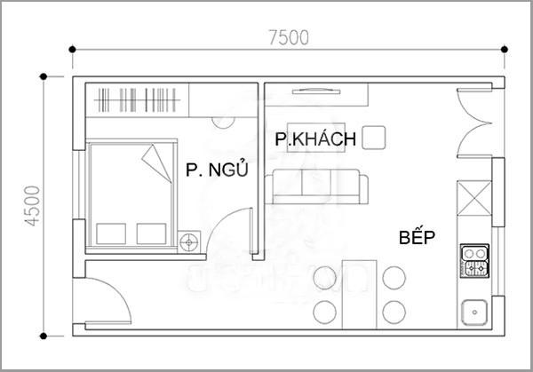 thiet ke nha dep Thiết kế nhà cấp 4 nhỏ 75m x 45m34m2 đầy đủ không gian chức năng 1 - Bản vẽ thiết kế nhà đẹp