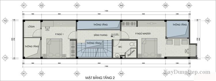 thiet ke nha dep Thiết kế nhà phố 4x17m hợp phong thủy2 - Bản vẽ thiết kế nhà đẹp