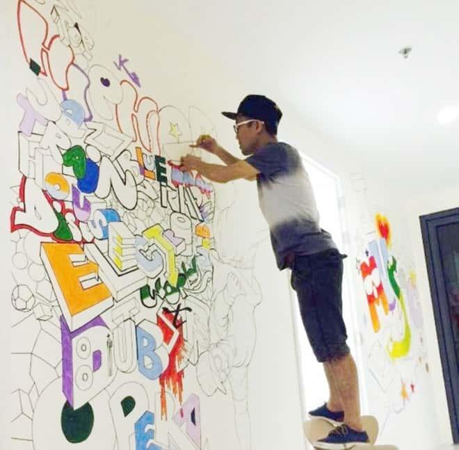 tranh tuong phong hoc tieng anh  - Vẽ tranh tường trung tâm ngoại ngữ