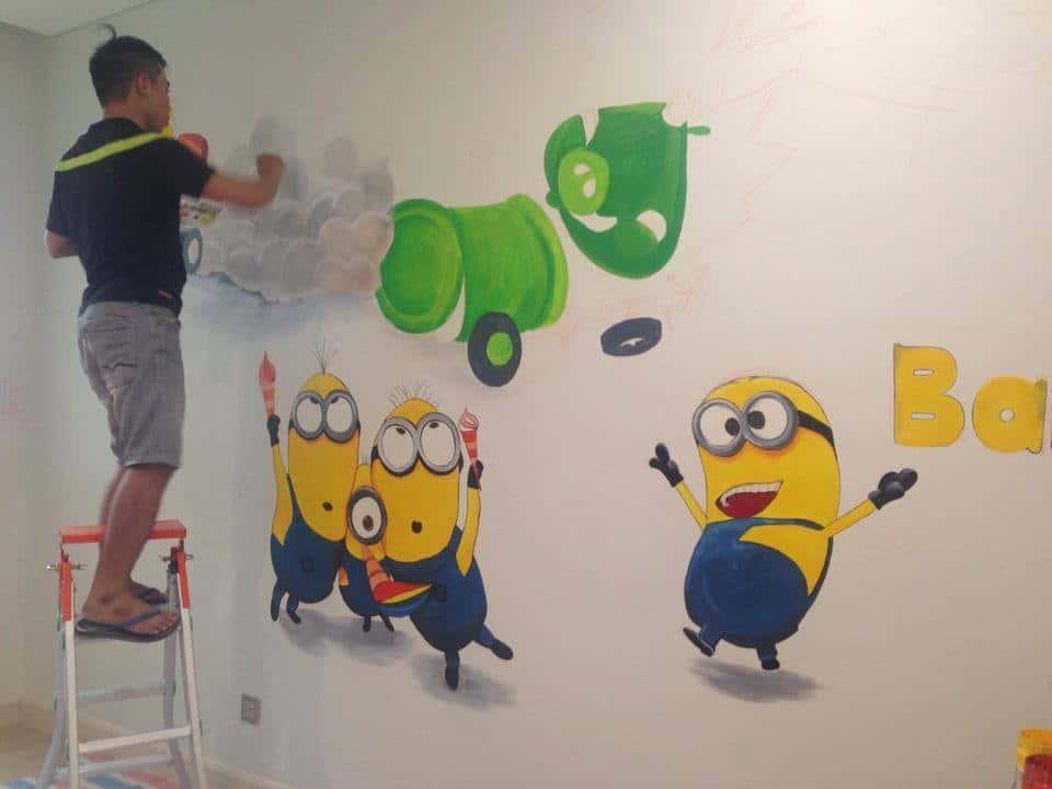 tranh tuong phong hoc tieng anh dep - Vẽ tranh tường trung tâm ngoại ngữ