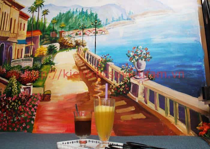 tranh tuong quan cafe 3 co dien - Vẽ tranh tường quán Cafe