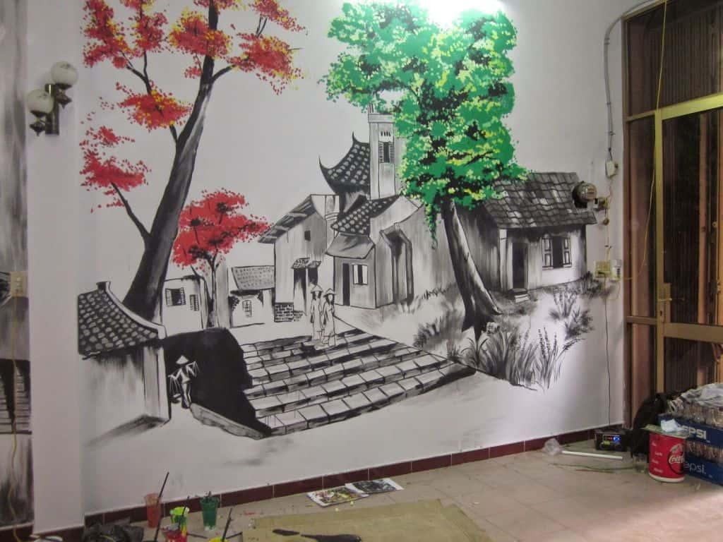 tranh tuong quan cafe sua dep tranh tuong cf - Vẽ tranh tường quán Cafe