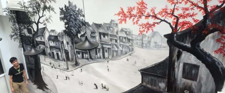 Vẽ tranh tường quán cafe 27 Ngõ Huyện – Phố cổ Hà Nội
