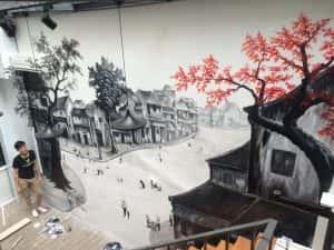 mau tranh tuong quan cafe 1 300x225 - Vẽ tranh tường quán Cafe