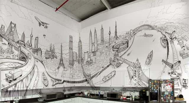 mau tranh tuong quan cafe 3 - Vẽ tranh tường cho nhà hàng, khách sạn