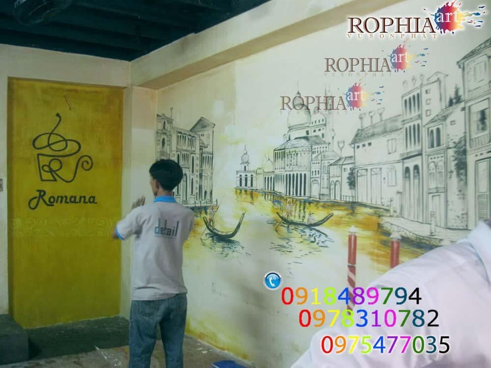 tranh tuong cafe 033 s 6876 - Vẽ tranh tường quán Cafe
