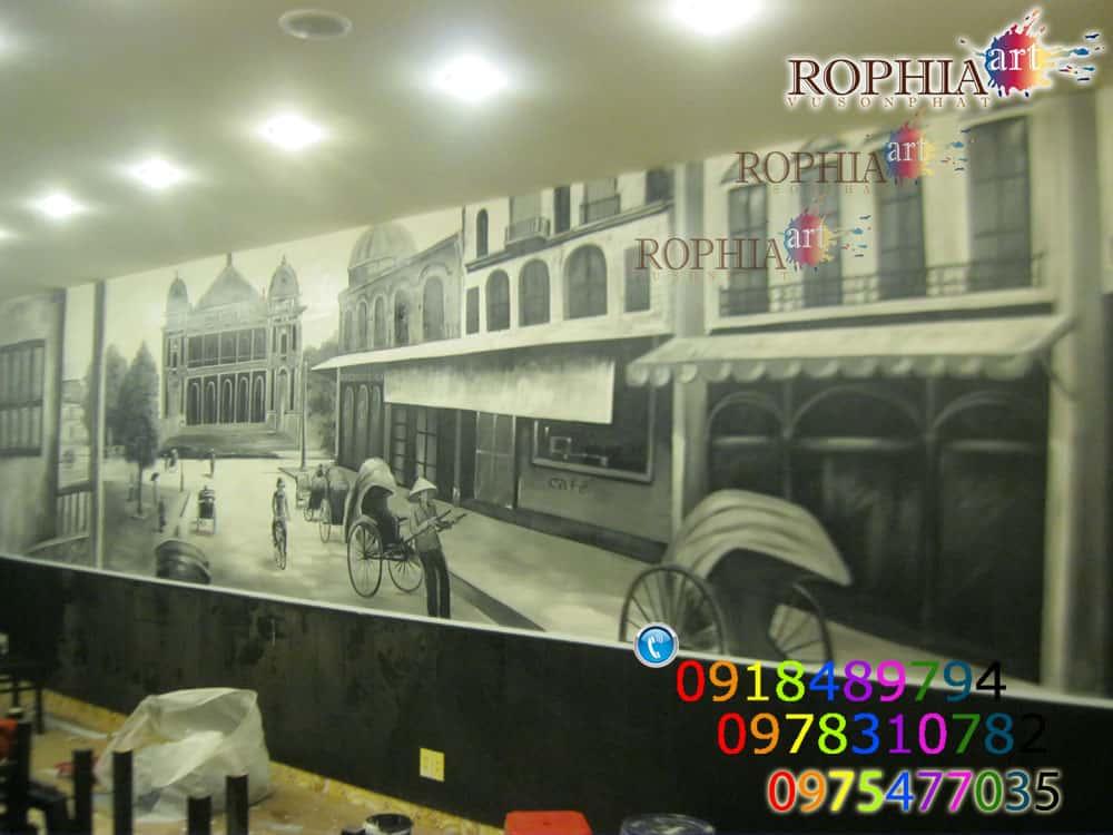 Vẽ tranh tường quán cafe đẹp và phong cách