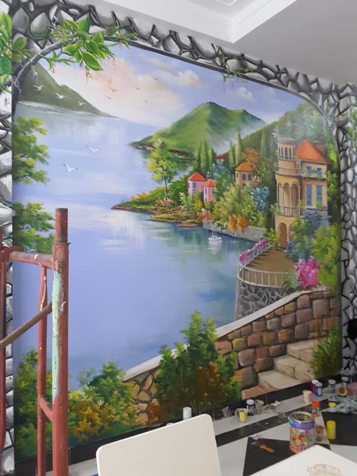 tranh tuong phong khach - Vẽ tranh tường phòng khách đẹp