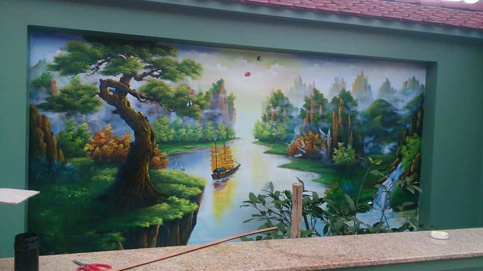 tranh ve tuong TVT kp - Vẽ tranh tường phòng khách đẹp