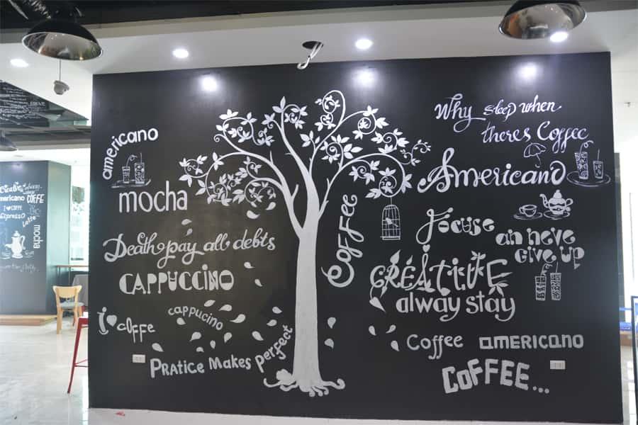 ve tranh chu typography cafe - vẽ tranh tường phòng ngủ