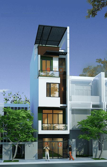 mau thiet ke nha pho mat tien 3 5mb - Mẫu thiết kế nhà phố mặt tiền 3.5m