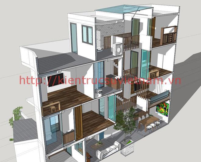 nhà phố 45m2 ms001 - Mẫu thiết kế nhà 45m2