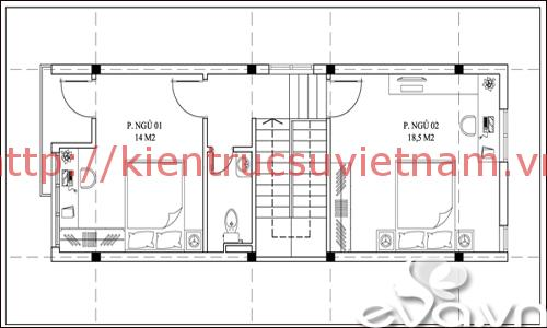 nhà phố 45m2 ms002 tang 2 - Mẫu thiết kế nhà 45m2
