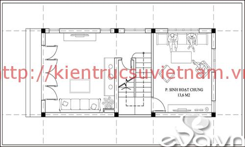 nhà phố 45m2 ms002 tang lung - Mẫu thiết kế nhà 45m2