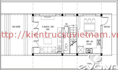 nhà phố 45m2 ms002 tang tret - Mẫu thiết kế nhà 45m2