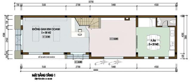 nhà phố 5x18m ms001 - Mẫu thiết kế nhà phố 5x18m
