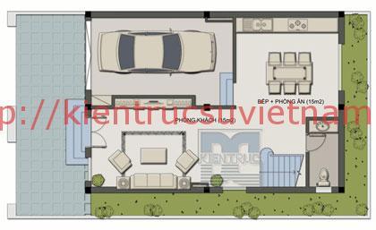 nhà phố 70m2 4 tang mat bang tang 1 - Mẫu thiết kế nhà 70m2