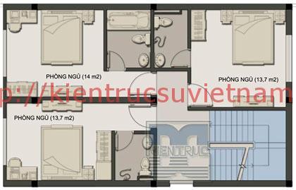 nhà phố 70m2 4 tang mat bang tang 2 - Mẫu thiết kế nhà 70m2
