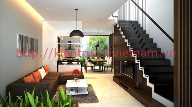 nhà phố 70m2 phong khach - Mẫu thiết kế nhà 70m2