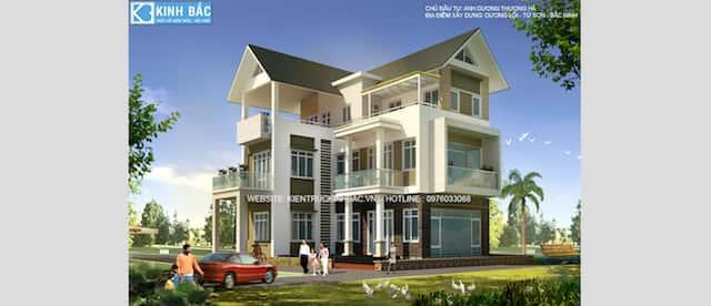 biet thu 3 tang chul dep - Thiết kế biệt thự 3 tầng chữ L đẹp