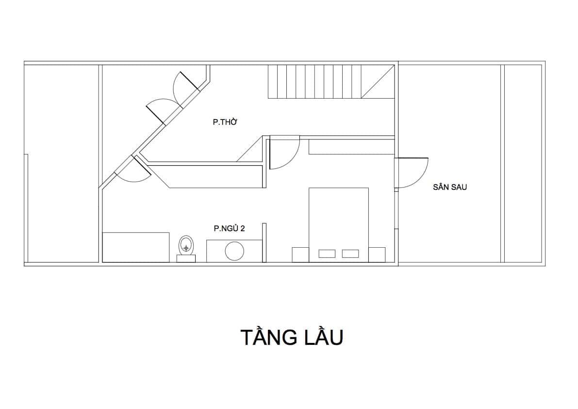 mat bang tang lau nha pho 2 tang mr hoa - Nhà phố 2 tầng 2 phòng ngủ có sân sau kinh phí 600 triệu