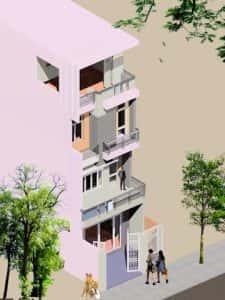 mau nha 3.5 tang dep msoo1 225x300 - Tư vấn thiết kế nhà 3 tầng 900 triệu đẹp