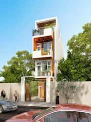 mau nha 80m2 hep dai 7 - Tư vấn hiết kế Nhà chia lô 80 m2 hẹp và dài đẹp nhất