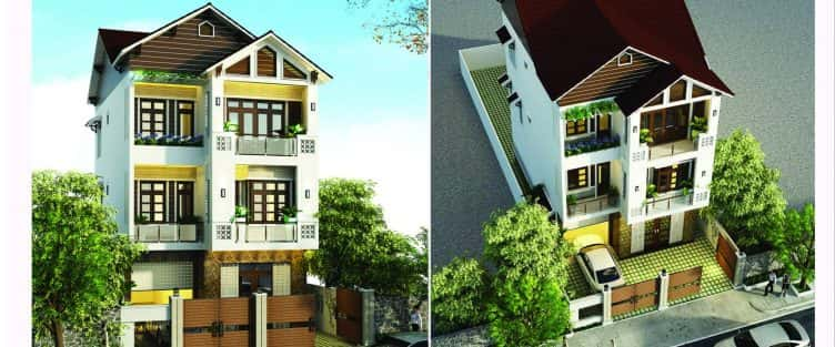 Thiết kế nhà mặt phố 3 tầng mái đẹp Đà Nẵng