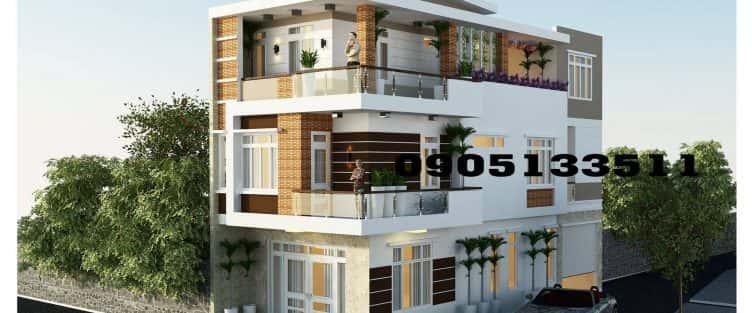 Mẫu thiết kế nhà góc phố 3 tầng 2 mặt tiền Đà Nẵng