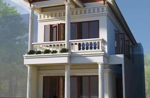 Thiết kế nhà 2 tầng mái dốc kinh phí 750 triệu