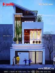 nha mat tien 55m ma1 - Tư vấn thiết kế Nhà 2 tầng, mặt tiền 5,5 m sang trọng