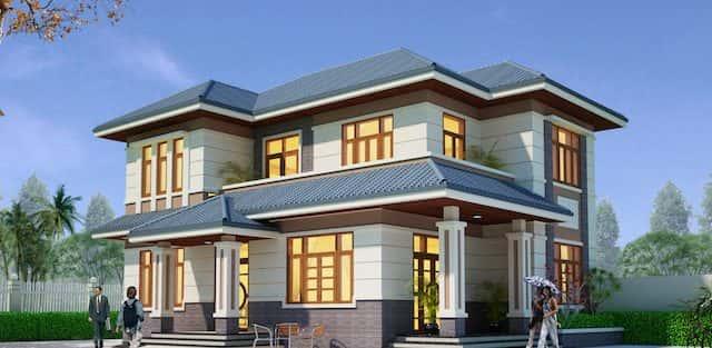 Tư vấn thi công thiết kế biệt thự đẹp 2 tầng Bắc Giang