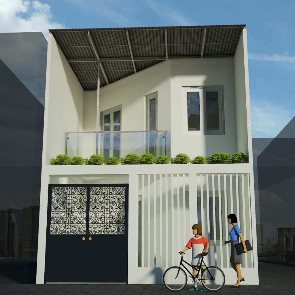 phoi canh nha pho 2 tang 1024x1024 - Nhà phố 2 tầng 2 phòng ngủ có sân sau kinh phí 600 triệu