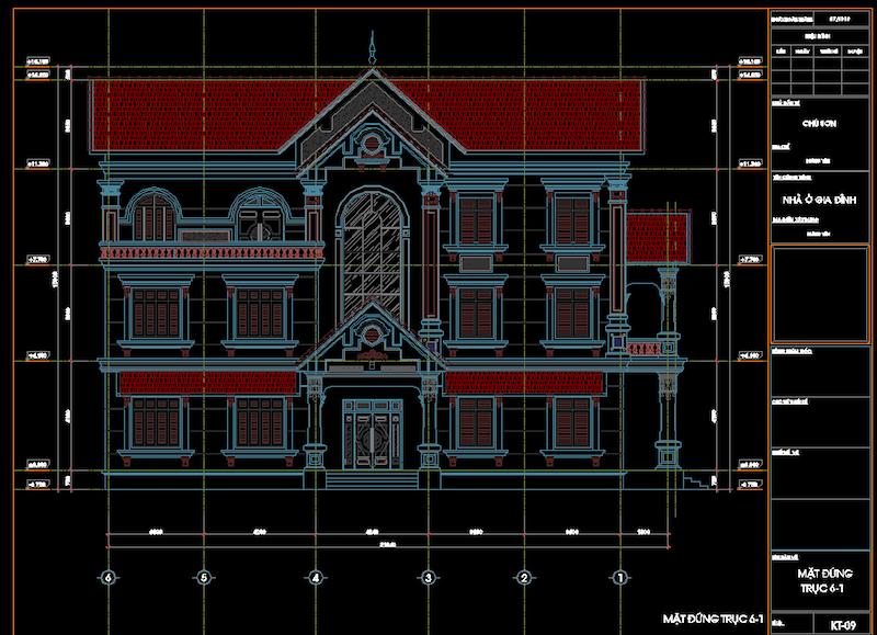 thiết kế biệt thự pháp cổ 3 tầng diện tích 89x19 ms001 - Thiết kế biệt thự kiểu Pháp