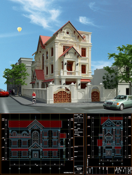 thiết kế biệt thự pháp cổ 3 tầng diện tích 89x19 - Thiết kế biệt thự 3 tầng đẹp