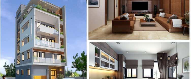 Thiết kế nhà 2 mặt phố đẹp 5 tầng có thang máy anh Vũ Việt Trì Phú Thọ