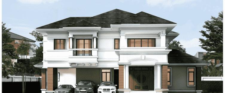 Thiết kế biệt thự đẹp 2 tầng hiện đại với mái thái