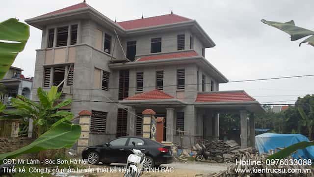 biet thu lanh soc son 2 - Tư vấn thi công thiết kế biệt thự 3 tầng hiện đại ông Lành Sóc Sơn